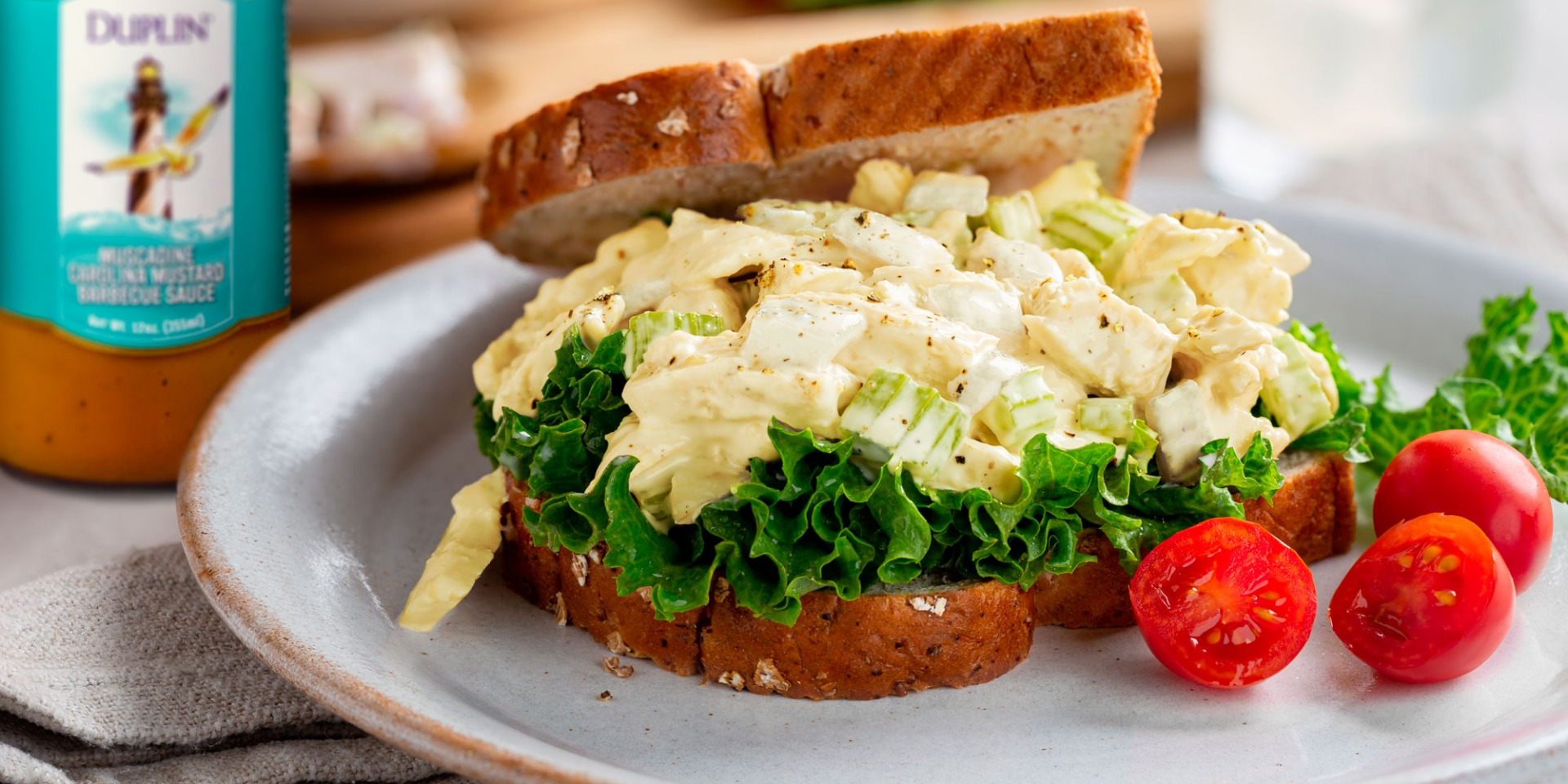 A little honey mustard add zip and sweetness to a classic chicken salad recipe.
