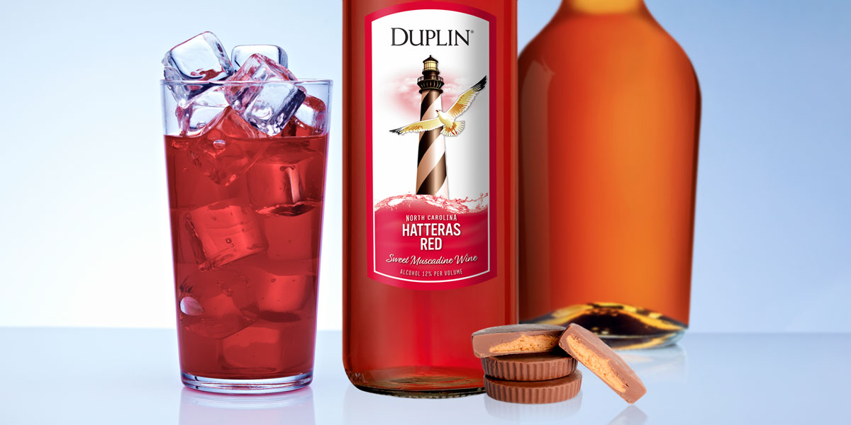 Peanut butter whiskey and Duplin Hatteras Red sweet wine cocktail.