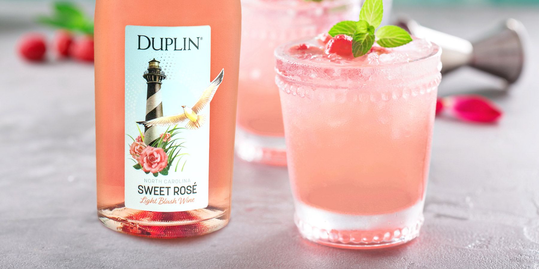 Blend any Duplin blush winewith fresh lemon juice and tequila and then pour the mix over shaved or crushed ice.