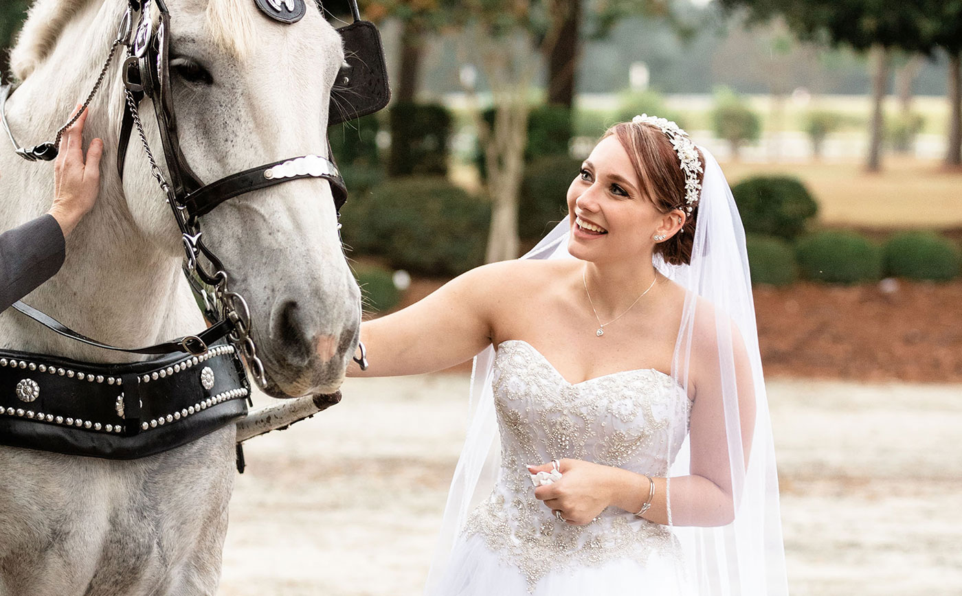 Beautiful Photo of Bride in Duplin Winery's Vineyards with Horse
