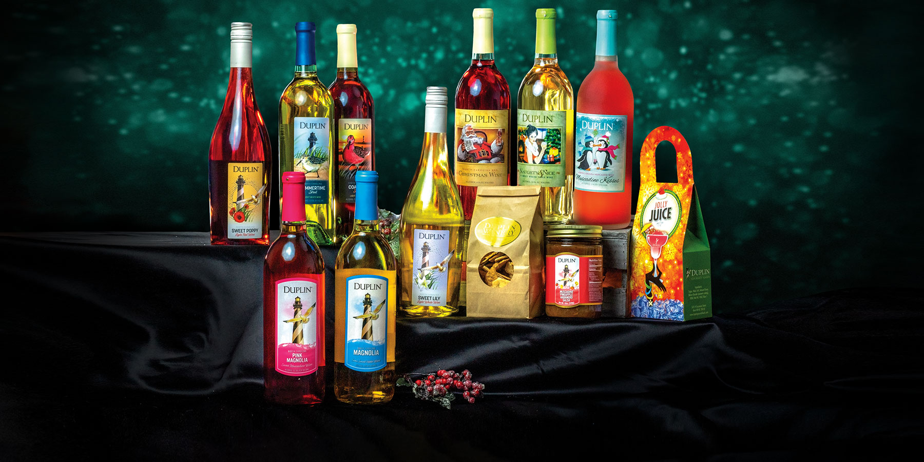 Duplin Winery Christmas At Home Wine Tasting Kits include wines we serve in our tasting rooms.