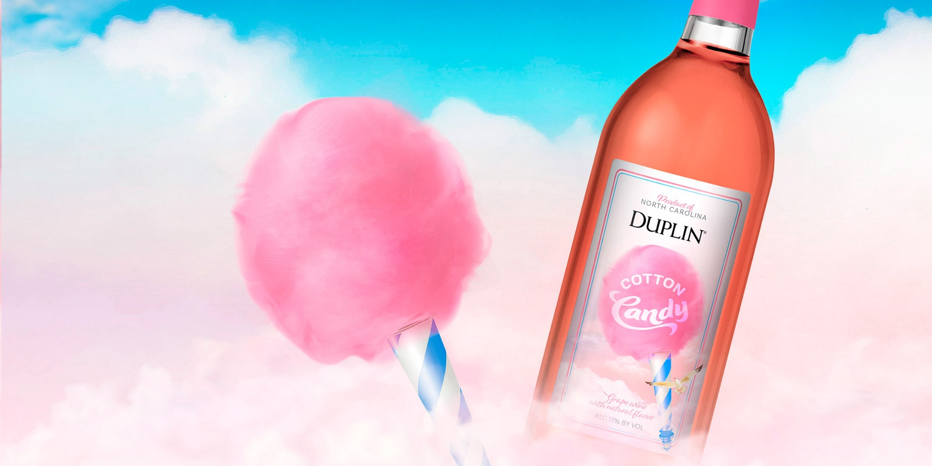 Duplin Cotton Candy wine's hints of berry and vanilla capture everything wonderful about pink cotton candy.