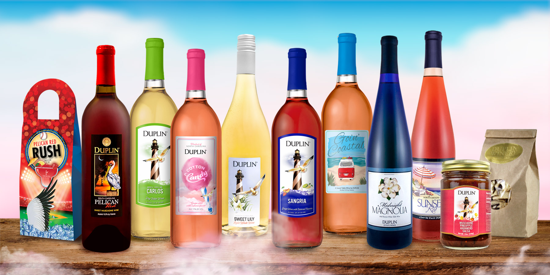 Duplin Winery's Cotton Candy wine tasting kit will make you feel like you're right there in our tasting room.