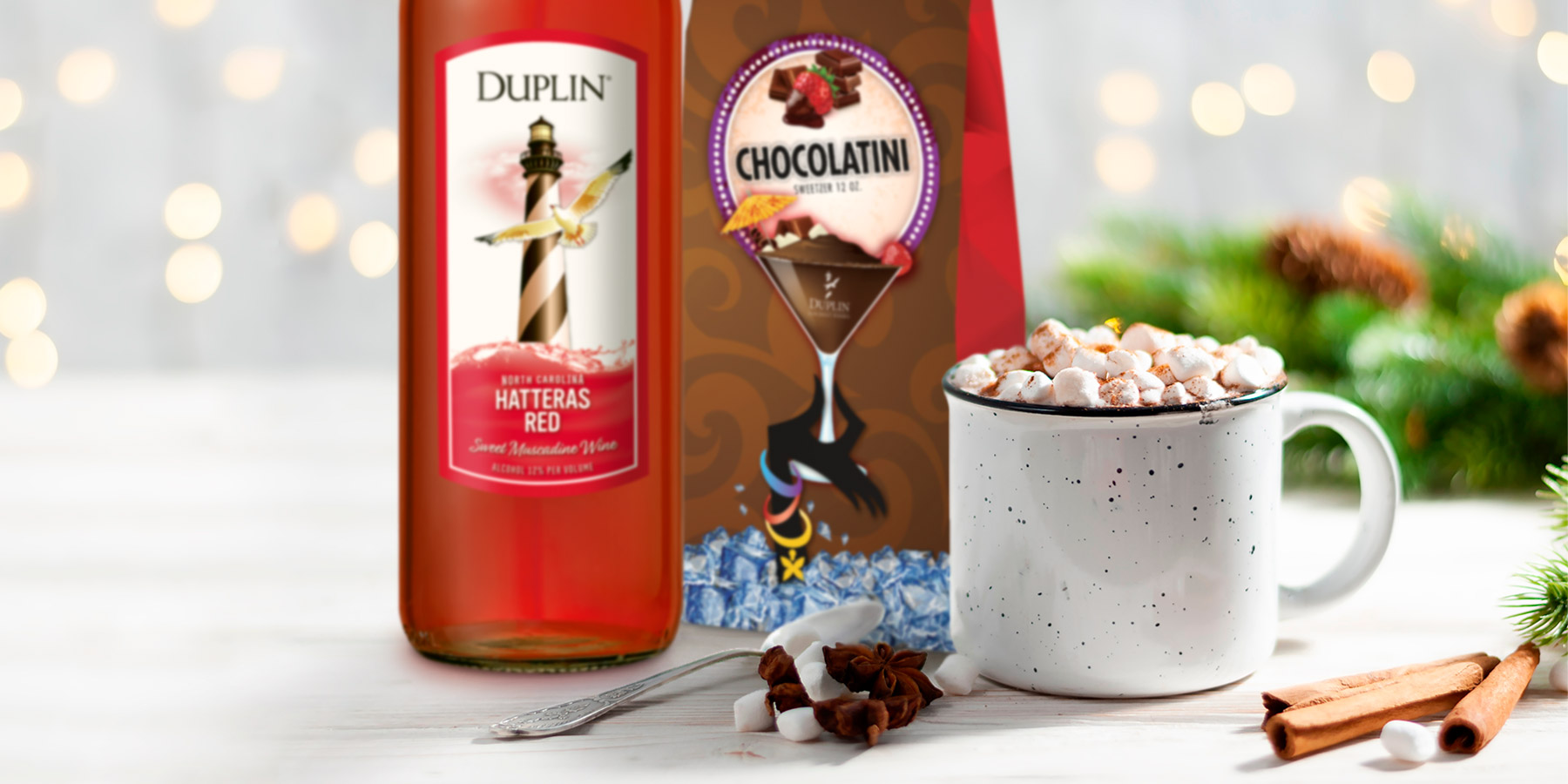 Use Duplin Gourmet Chocolatini Sweetzer mix to make red wine-spiked hot chocolate for Valentine's Day.