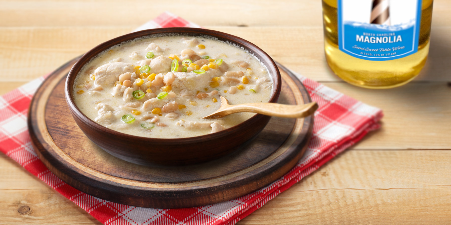 Cream cheese chicken chili recipes are even better with a dash of Duplin Magnolia wine.