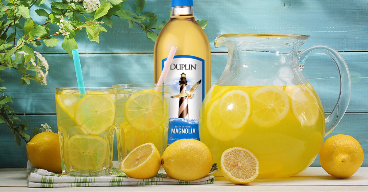 Summertime Wine Spritzer is a famous white wine lemonade cocktail from Duplin Winery.